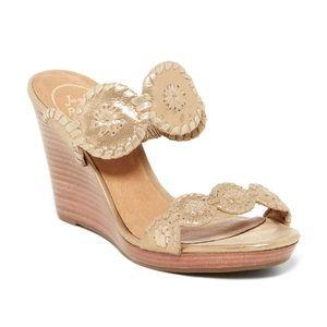 jack rogers // gold stacked heel wedge sandals